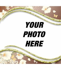 Beautiful frame for your photos with decorative white flowers