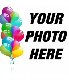 Editable postcard to celebrate with balloons and upload your photo