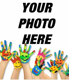 Effect of hands with paint to upload a photo