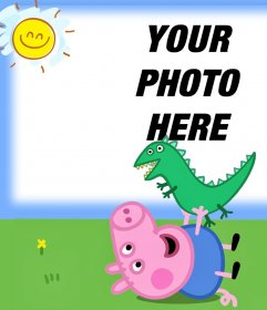 Upload your photo with George from Peppa Pig with his dinosaur toy