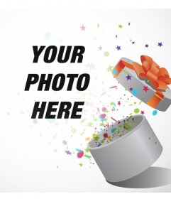 Upload your photo to add it to a gift box opened with many stars