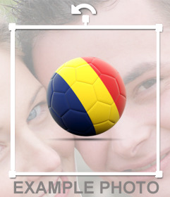 Soccer ball with the Flag of Romania as a sticker to paste on your photos
