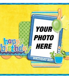 Free birthday card for photos and congratulate a boy