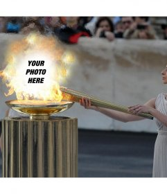 Upload your photo to the fire of the Olympics with this original photo effect