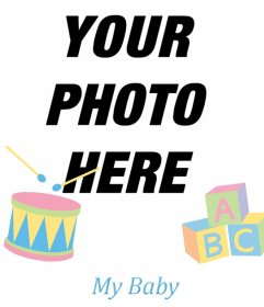 Photo frame for photo of your babys with decorative toys