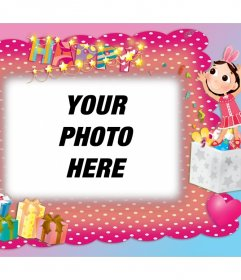 Photo frame with decoration of birthday party to edit for free