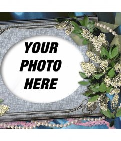 Portrait to edit with your favorite picture and decorate it with flowers and ornaments