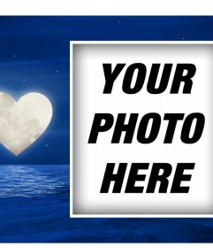 Romantic postcard with heart-shaped moon to upload your photo