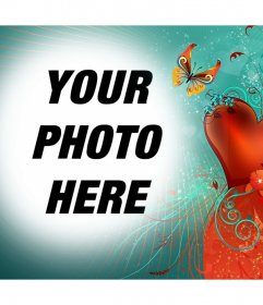 Photo effect of love with a butterfly to upload your photo