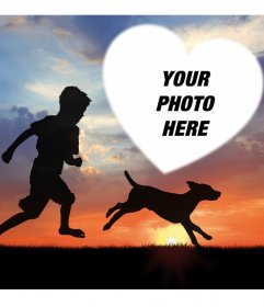 Beautiful photo effect with a child and a dog for your photo