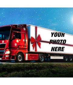 Photo effect of a Christmas truck to upload a photo