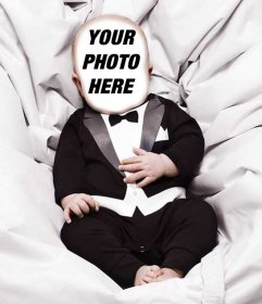Photo effect of a baby wearing a suit to upload a photo