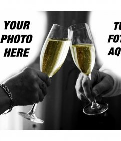 Photo collage of a couple making a toast to upload 2 photos