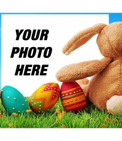 Easter bunny with decorated eggs to upload your photo