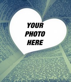Photo effect of a book with a heart for your photo