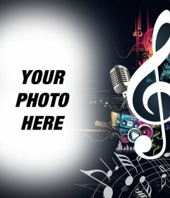 Photo effect of music and notes to upload your picture