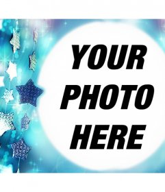 Free photo frame with blue stars to upload your photo