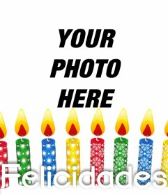 Photo effect of colorful birthday candles to upload a photo