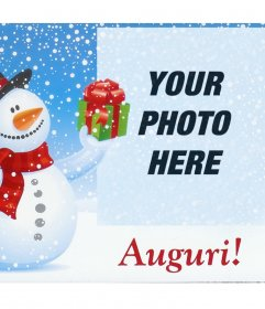 Photo effect to Christmas with snowman for your photo