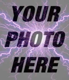 Photo effect of a violet lightning for your photos