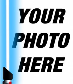 Photo effect of the blue lightsaber from Star Wars to your photo
