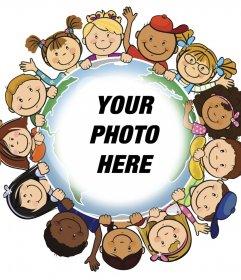 Photo effect of children around the world to upload your photo