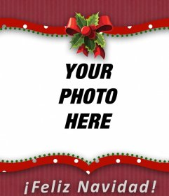 Red picture frame of Christmas with a bow to put your photo