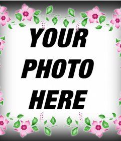 Photo effect of a frame with pink flowers to decorate your photo