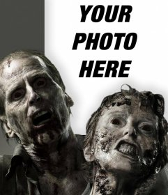 Photomontage of terror with zombies and your photo