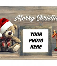 Christmas photo effect with a teddy bear to upload your photo