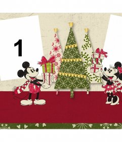 Christmas photo effect for two photos with Mickey and Minnie