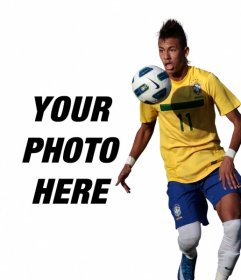 Photomontage where you can add a photo next to Neymar Junior with Brazil shirt