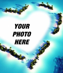 Photo effect of a landscape with a heart to upload your picture