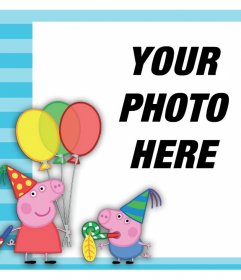 Effect with Peppa Pig and George celebrating to upload a photo