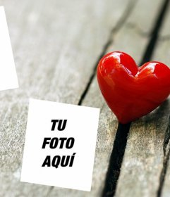Photo effect to put two pictures of love with a heart