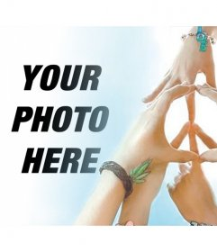 Photo effect with hands making the Peace symbol