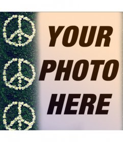 Photo effect with the symbol of peace with flowers for your photo