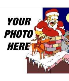 Christmas photo effect of The Simpsons to upload a photo