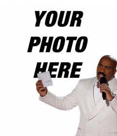 Meme photo effect of Steve Harvey to upload a photo