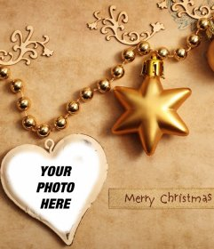 Christmas ornaments for uploading your photo inside a heart