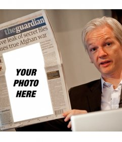 Photo effect to put a picture in a newspaper you are reading WikiLeaks founder Julian Assange
