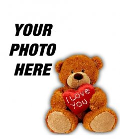 Profile photo with a teddy bear with a heart to personalize your Facebook or your Twitter profile