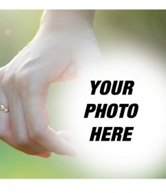 Editable photomontage with a couple holding hands with rings