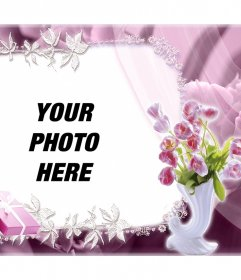 Beautiful frame with roses to edit with your photo and for free