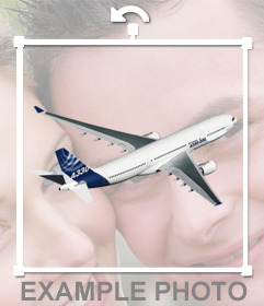 Free sticker for your photos of an airplane