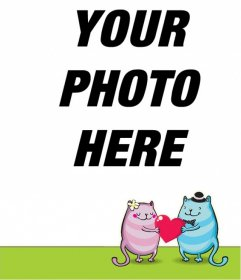 Create an online romantic postcard with cartoon kittens in love holding a red heart