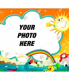 Photomontage baby with a colorful backdrop