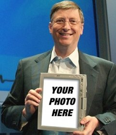 Photo montage to go on a tablet that holds bill gates