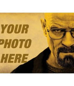 Create a photomontage with the protagonist of the Breaking Bad serial, Walter White