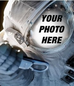 Adjust your face in a diving suit of an astronaut in space
